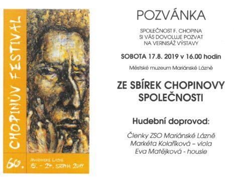 """Pozvánka na vernisáž výstavy """"Ze sbírek Chopinovy společnosti"""""""